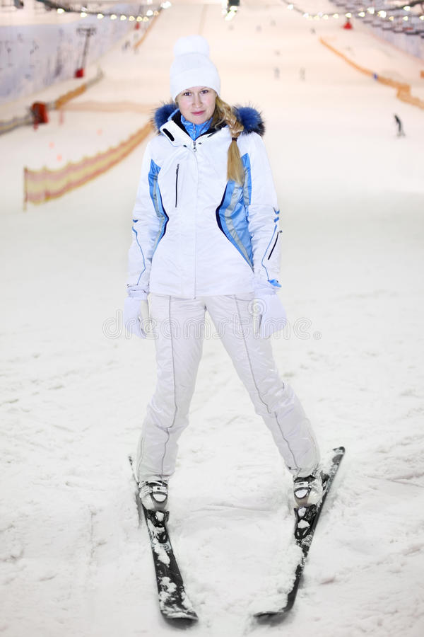 Download Happy Woman Stands On Ski In Indoor Ski Royalty Free Stock Photos - Image: 22735638