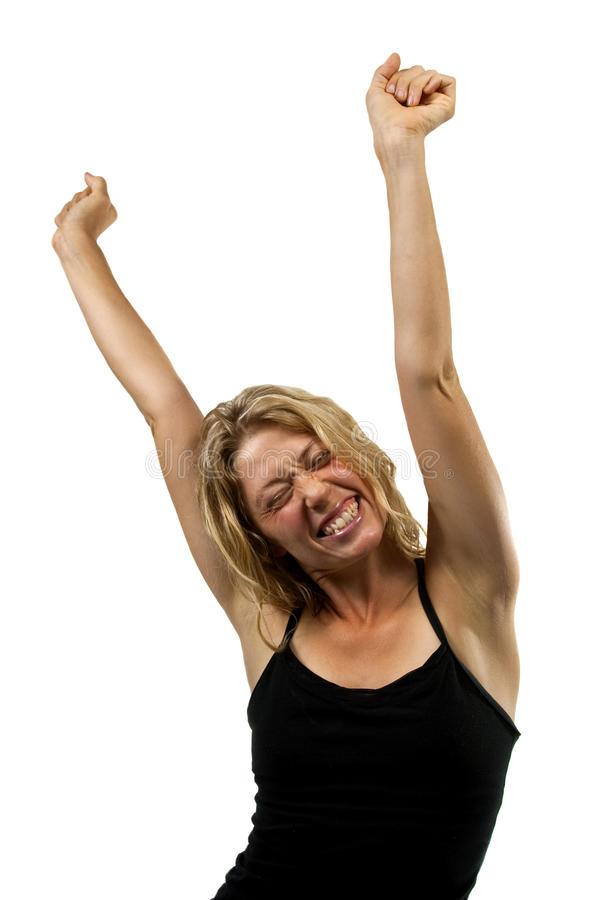Happy woman stretches stock photo