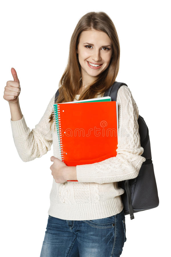 Happy woman student showing thumb up stock photography