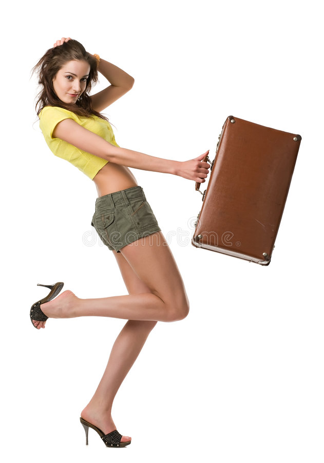 Happy woman with suitcase royalty free stock photography