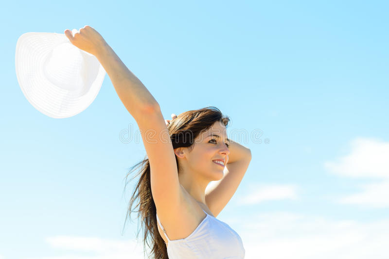 Happy woman on summer royalty free stock photos