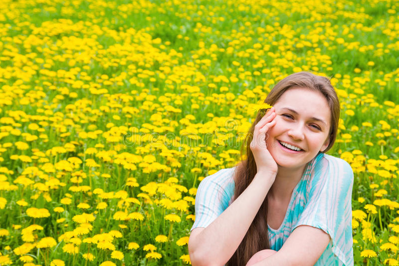 Happy woman in summer park stock photos