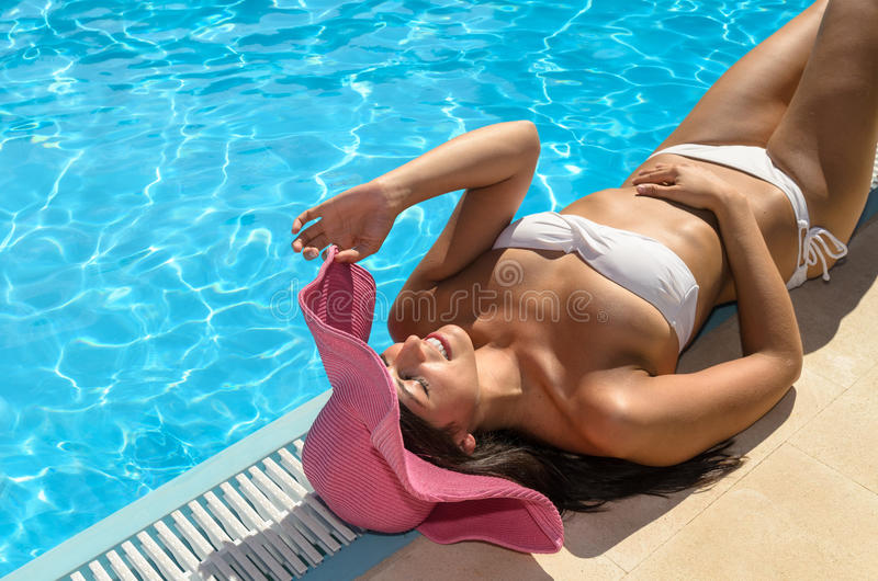 Happy woman summer relax royalty free stock images