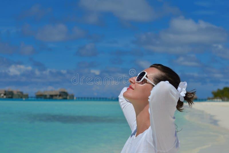 Happy woman at summer stock photos