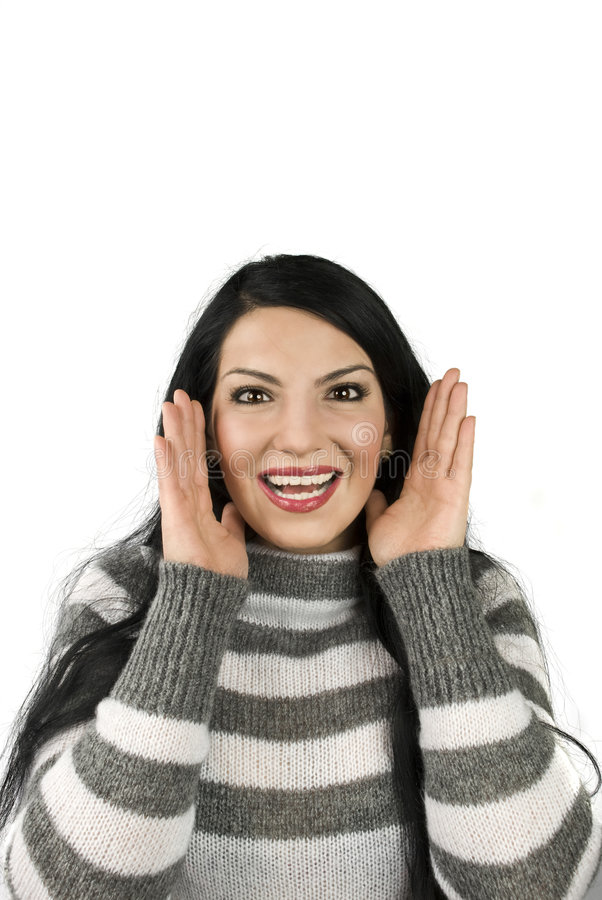 Happy woman surprised face stock image
