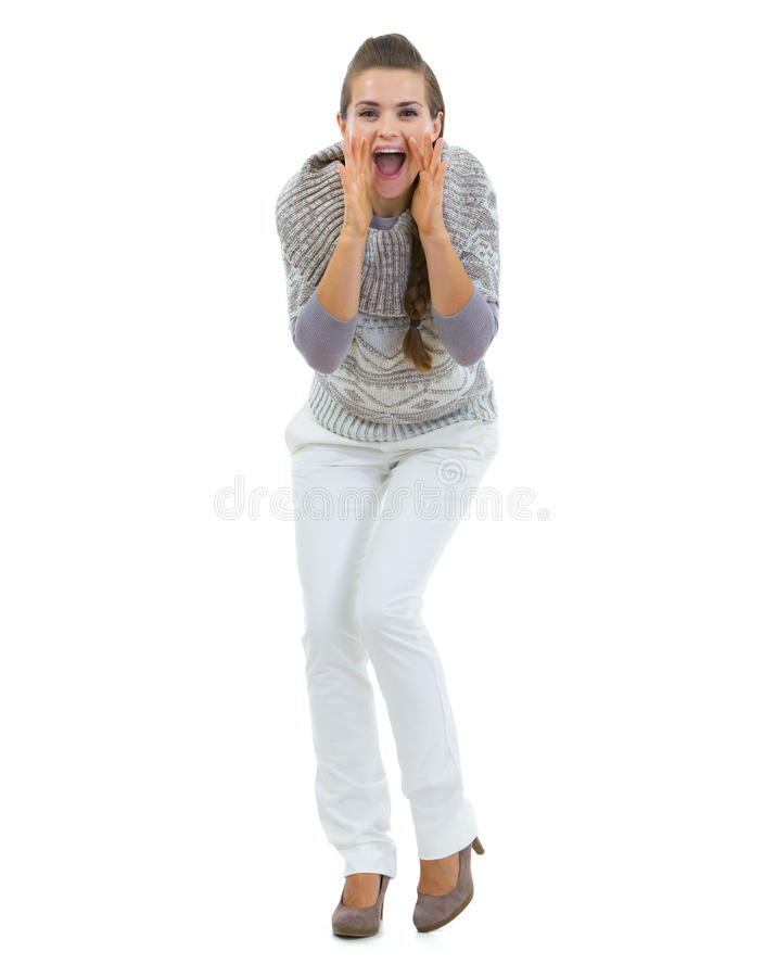 Download Happy Woman In Sweater Shouting Through Megaphone Shaped Hands Stock Image - Image of portrait, shouting: 33959305