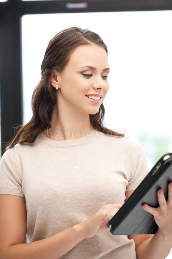 Happy Woman With Tablet Pc Computer Stock Photography