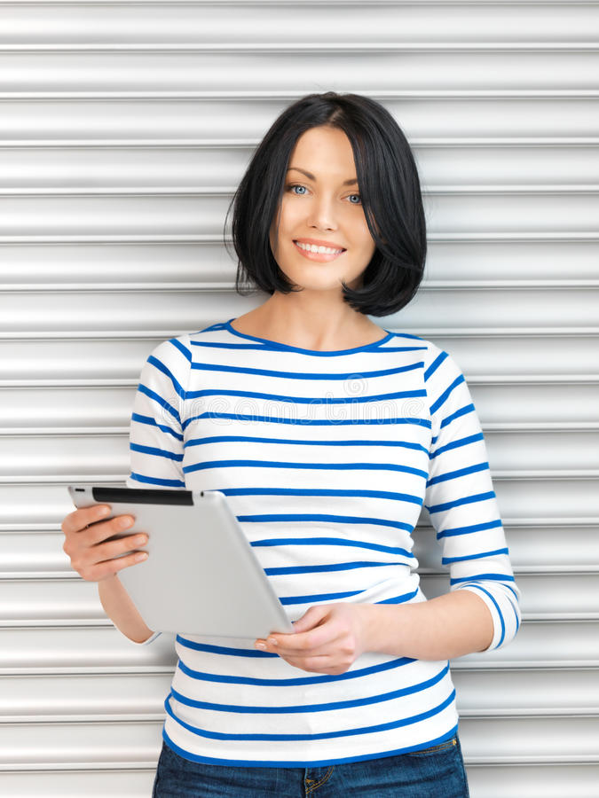 Download Happy Woman With Tablet Pc Computer Stock Image - Image: 24624305