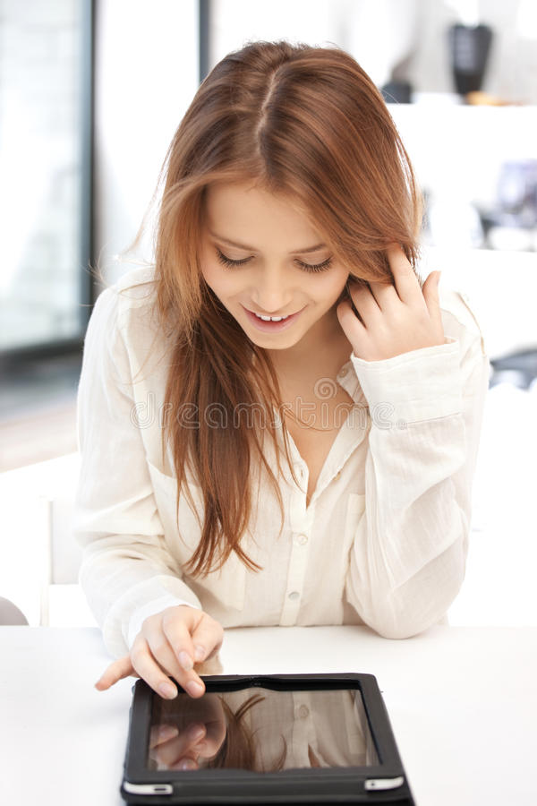 Happy woman with tablet pc computer. Picture of happy woman with tablet pc computer stock images