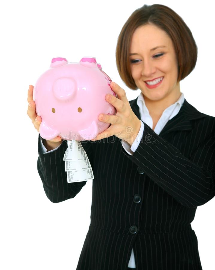 Download Happy Woman Taking Money Out Of Piggy Bank Stock Photo - Image of happy, pretty: 9926772