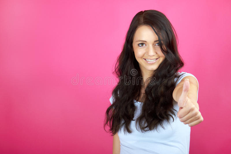 Download Happy woman with thumb up stock image. Image of satisfied - 26478257