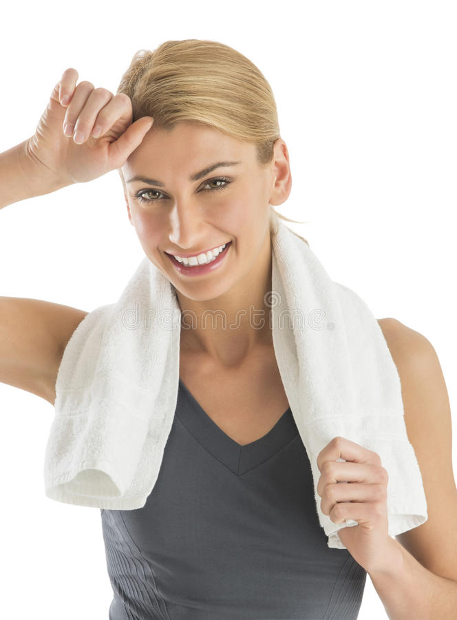 Download Happy Woman With Towel Around Neck Wiping Sweat Stock Photo - Image: 32278564