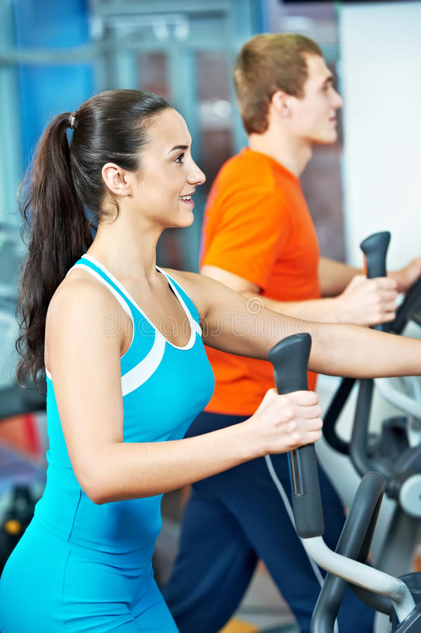 Download Happy Woman With At Training Gym Stock Photo - Image of load, instructor: 22498590