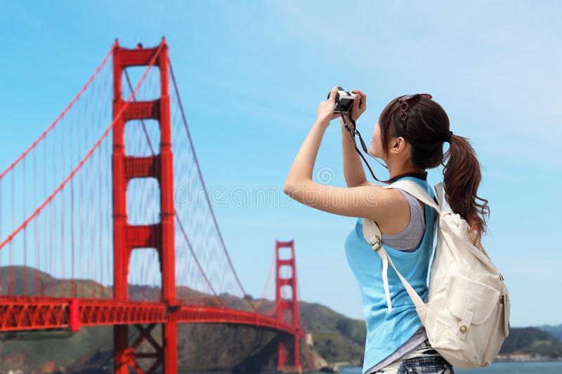 Happy woman travel in San Francisco royalty free stock photography
