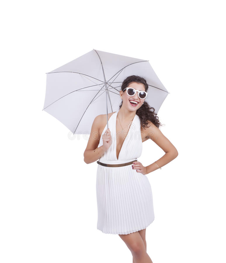 Happy woman with umbrella in hand royalty free stock images