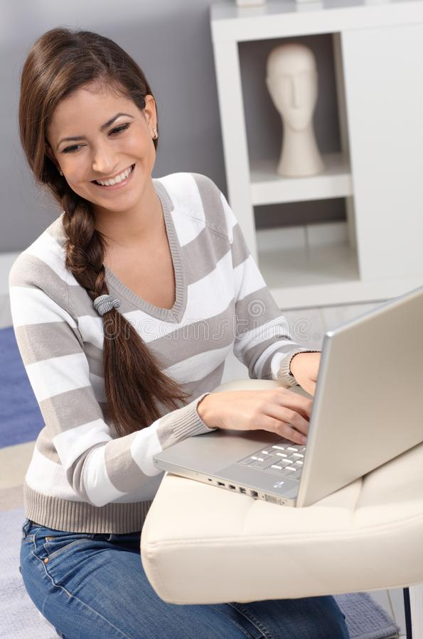 Download Happy Woman Using Laptop Computer Stock Image - Image of good, indoors: 26384715