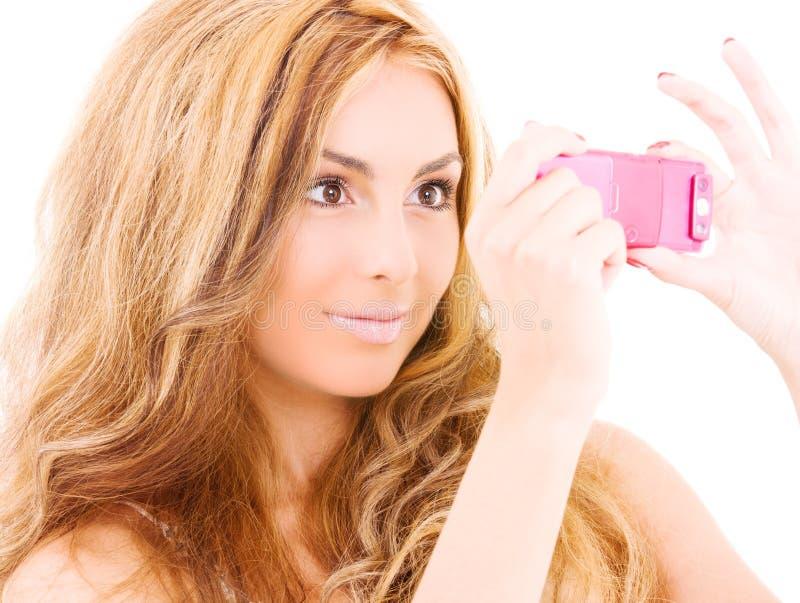 Download Happy Woman Using Phone Camera Stock Photo - Image: 11229828