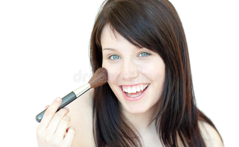 Download Happy Woman Using A Powder Brush Stock Photo - Image: 13861204