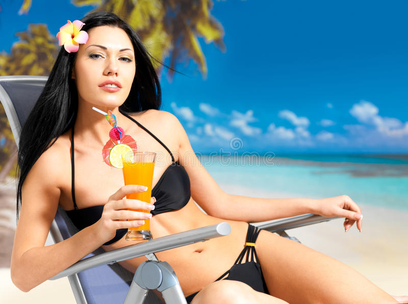 Download Happy Woman On Vacation Enjoying At Beach Stock Photography - Image: 28773862