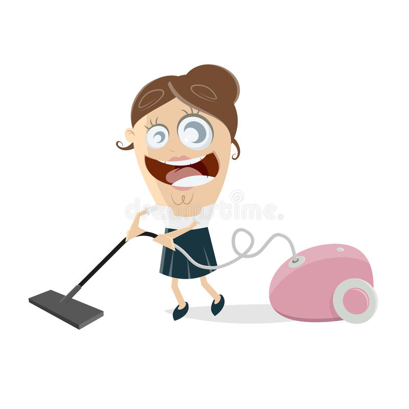 Happy woman with vacuum cleaner. Clipart of a happy woman with vacuum cleaner vector illustration