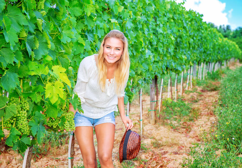 Happy woman on vineyard stock images