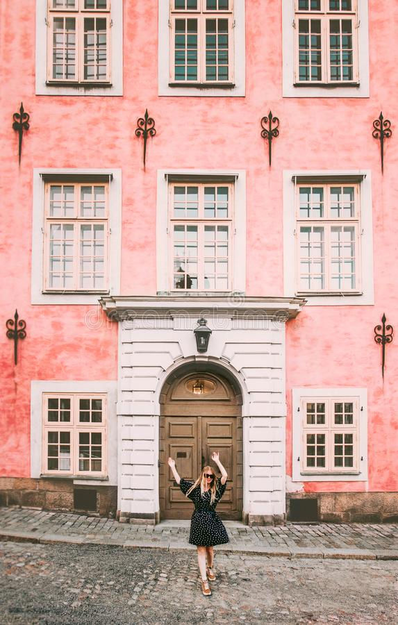 Happy woman walking in Stockholm travel royalty free stock photo