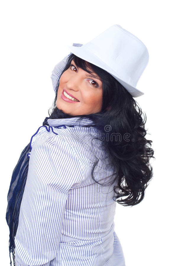Download Happy   Woman Wearing White Hat Stock Image - Image: 16143187