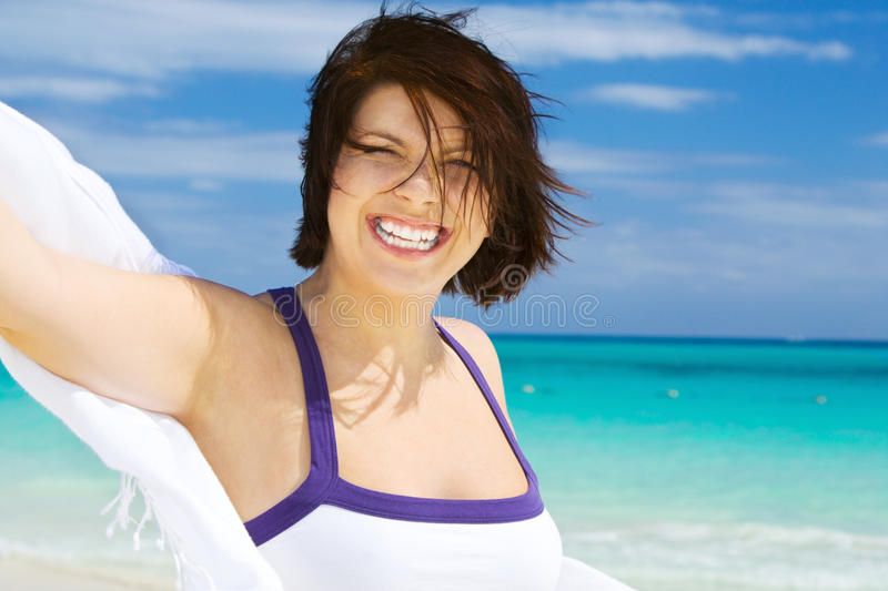 Download Happy Woman With White Sarong Stock Image - Image of joyful, healthy: 41510429