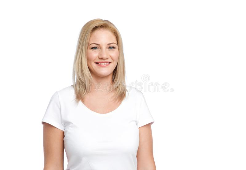 Happy woman in white t-shirt royalty free stock image