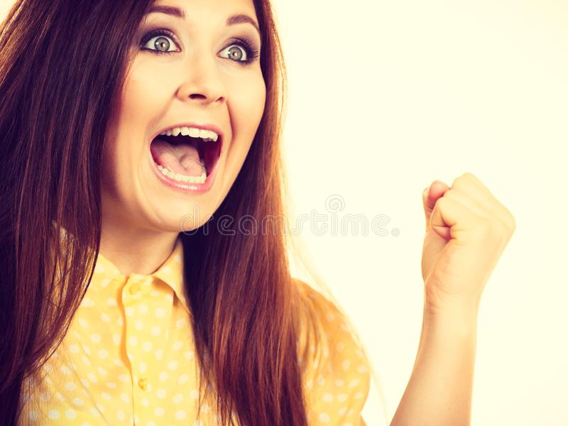 Happy woman winning having luck royalty free stock images