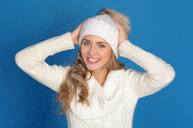 Download Happy Woman In Winter Clothes Under Falling Snow Stock Image - Image: 22297933