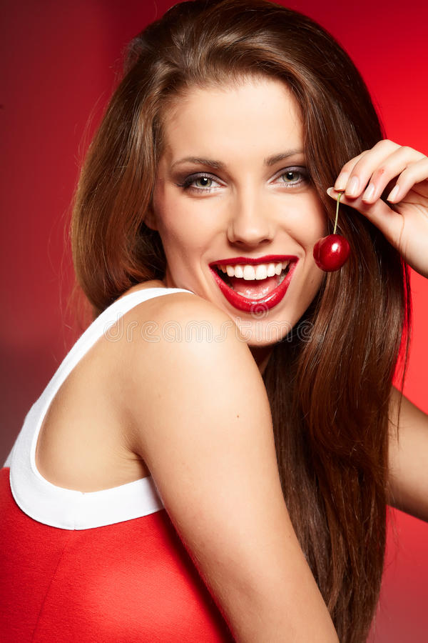 Free Happy Woman With Cherries Royalty Free Stock Images - 25681399