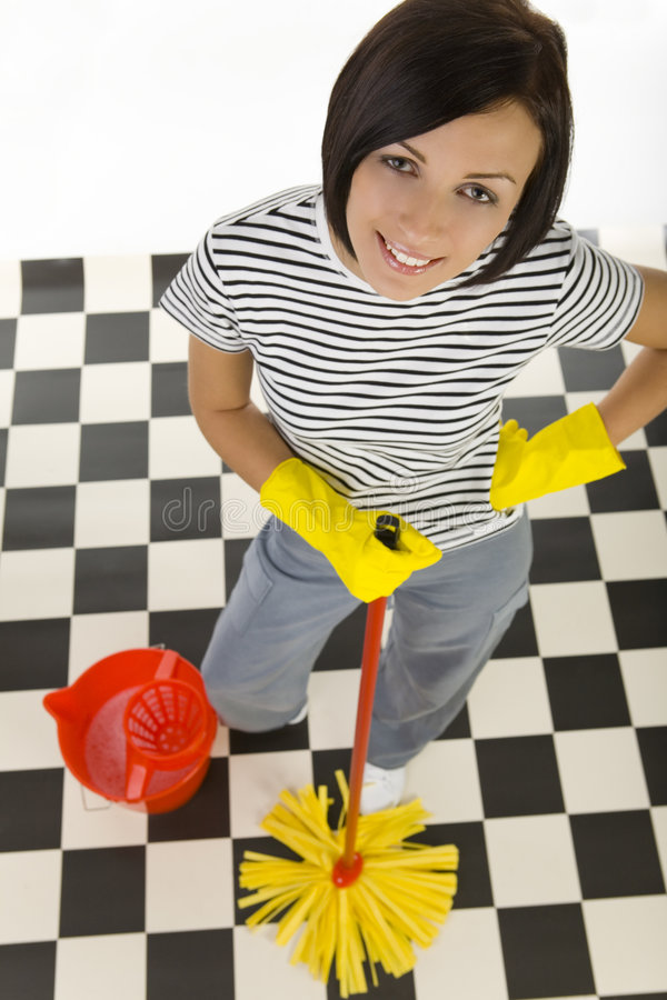 Free Happy Woman With Mop Stock Images - 4494534