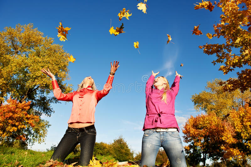 Download Happy Women At Autumn Outdoors Royalty Free Stock Photo - Image: 26430935