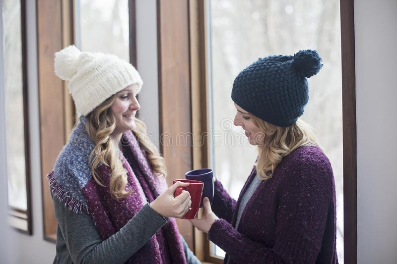 Happy women friends at home in winter. Two smiling young women standing by window at at home in winter holding mugs of coffee or tea stock photos