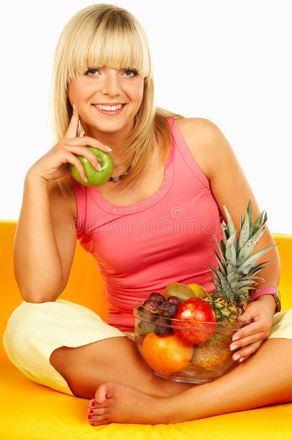 Happy women with fruits royalty free stock photo