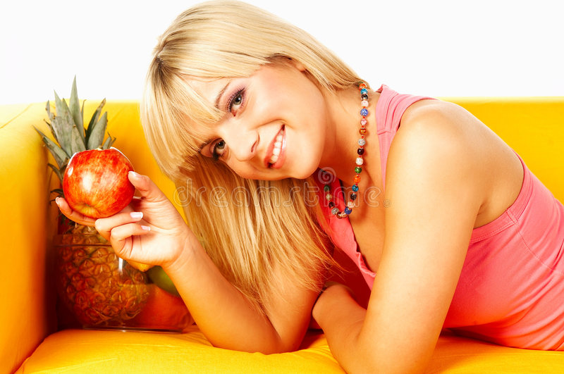 Happy women with fruits royalty free stock photography