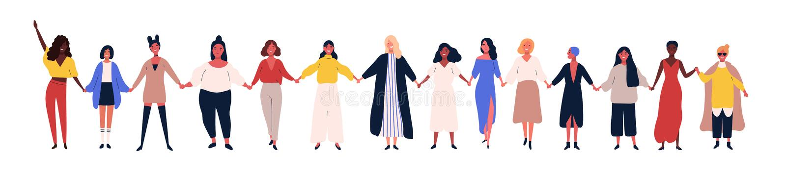 Happy women or girls standing together and holding hands. Group of female friends, union of feminists, sisterhood. Flat stock illustration