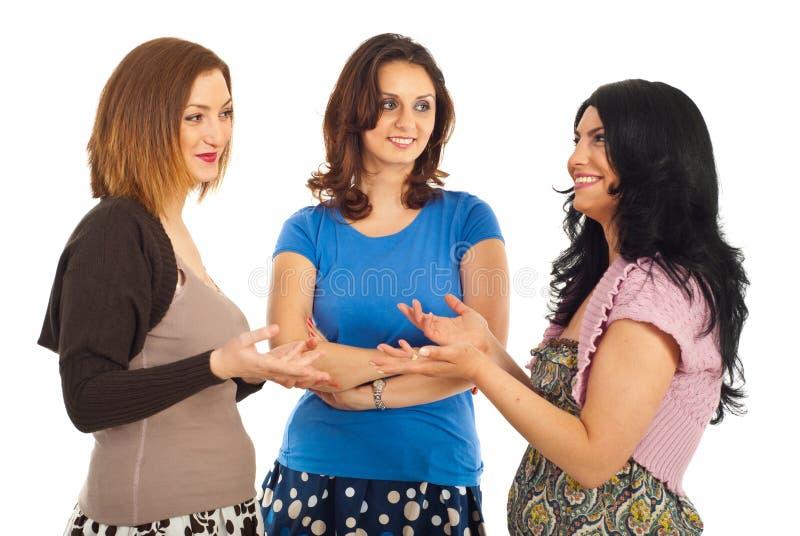 Happy women having conversation stock photo