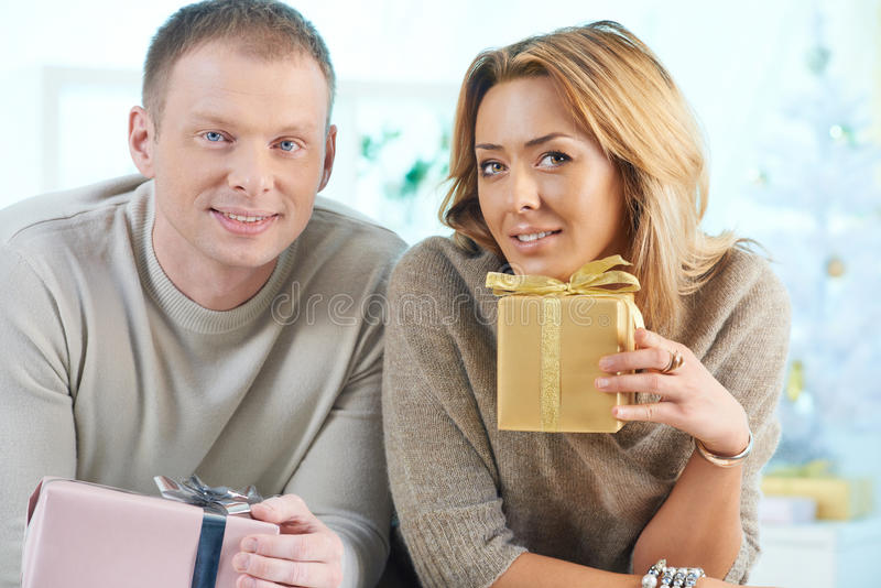 Download Couple with gifts stock image. Image of knot, love, looking - 30212005