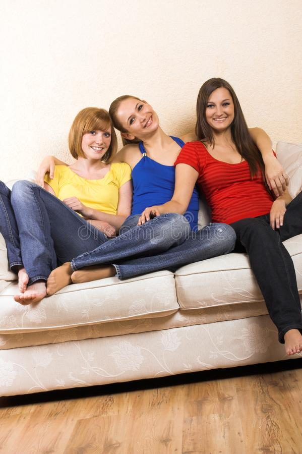 Happy Women In A Living Room Stock Images