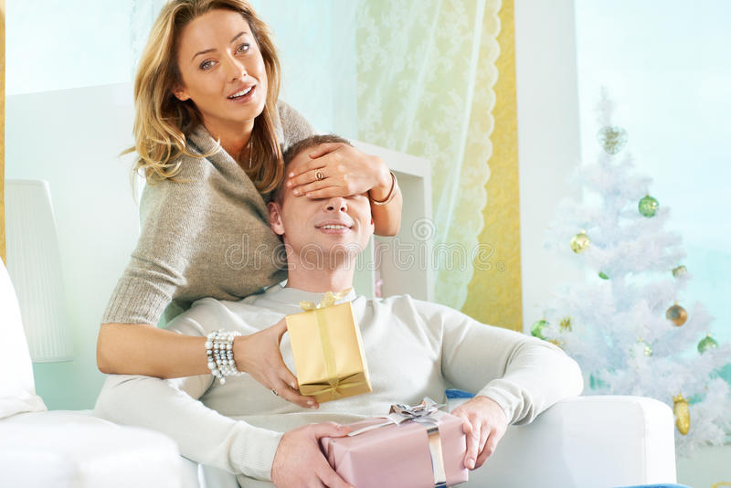 Download Christmas surprise stock photo. Image of family, husband - 30211942