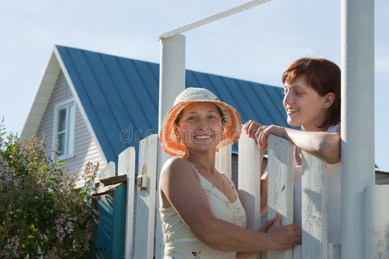 Download Happy Women Near Fence Wicket Stock Image - Image: 20838119