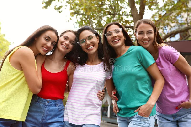 Happy women outdoors on sunny day royalty free stock images