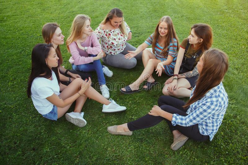 Happy women outdoors on sunny day. Girl power concept. royalty free stock images
