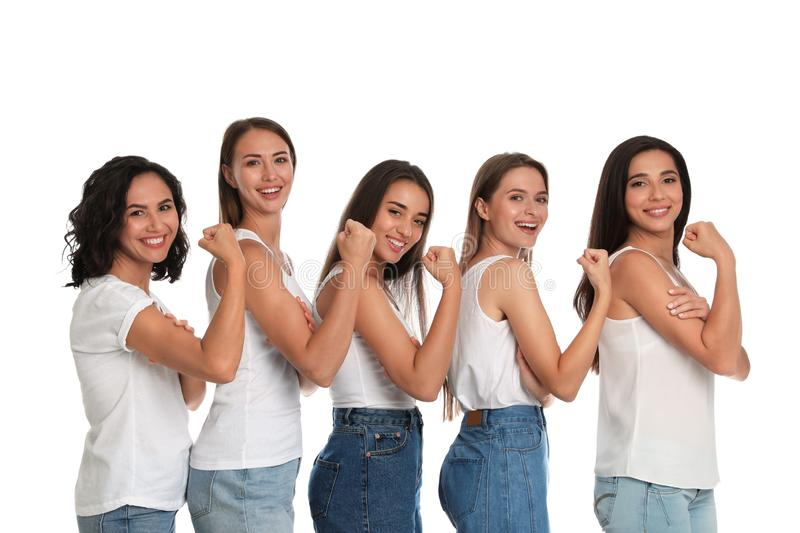 Happy women posing on white background royalty free stock images