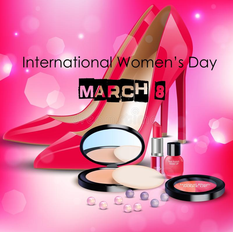 Happy Women's Day background with ladies shoe and cosmetics royalty free illustration