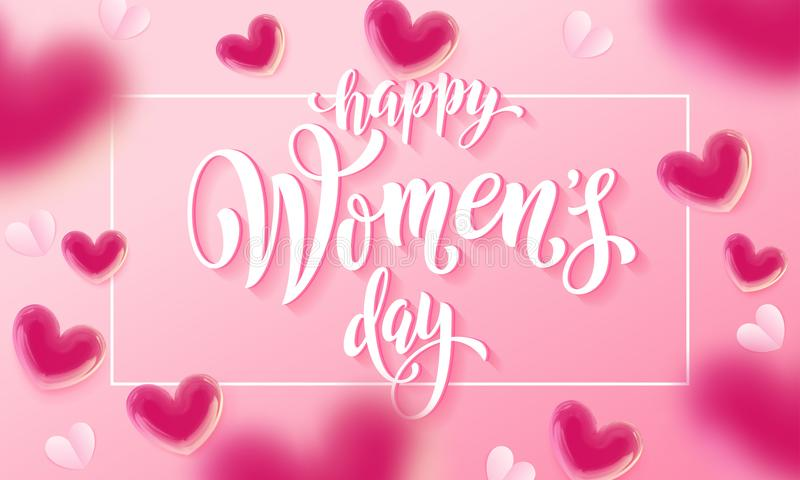 Happy women`s day banner with ballon heart on romantic pink background. Vector 8 March greetings text poster stock illustration