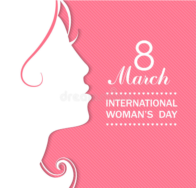 Happy Women's Day celebrations concept. Happy Women's Day celebrations concept with a girl face on pink background. Vector illustration stock illustration