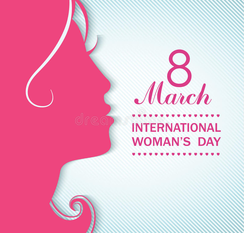 Happy Women's Day celebrations concept. Happy Women's Day celebrations concept with a girl face on pink background. Vector illustration vector illustration